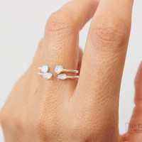 2 Opal Ring, Opal Jewlery, Sterling Silver Ring, Stacking Rings,Jewelry opal jewellery,Dainty  Ring,Opal  Stackable Rings,Opal Simple Ring