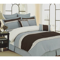 8 Piece Bedding Set Wly Blue Comforter Set in Queen Size