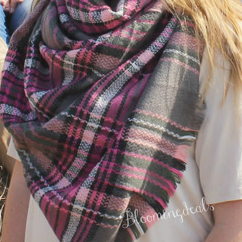 Blanket Scarf, Pink and Grey Plaid Tartan, Monogrammed Winter Scarf, Personalized Christmas Gift Under 30 Dollars