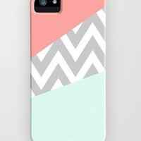 Mint & Coral Chevron Block on Case for Iphone 5c Case Iphone 5c Case,plastic Cover Includes Screen Protector and Cleaning Cloth