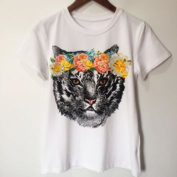 One-nice™ GUCCI The cat head printing round neck tee top H-spring-CLFSGCJDZ