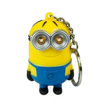 1PCS Cute Cartoon Mini Led Lighting 3D Minion Toys Key chains Doll