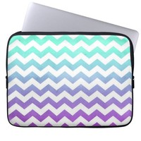 Purple Turquoise Fade White Chevron Zigzag Pattern