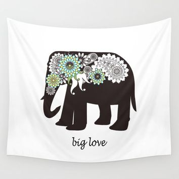 Paisley Elephant - Big Love Wall Tapestry by Wind-Up Sprout Design