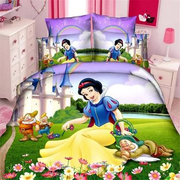 Disney snow princess girls bedding set duvet cover bed sheet pillow cases single size