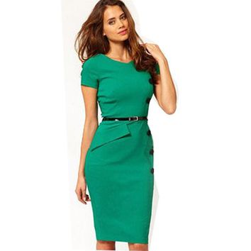 New Fashion European & America Summer Women O-Neck Short Sleeve Knee-length Button Slim Wiggle Pencil Party Bodycon Dresses