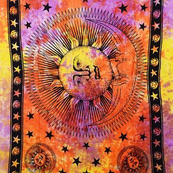 Sun & Moon Best Tapestry, Curtain, Wall Hanging, Astro look, Hippie Tapestries, Handmade Gift