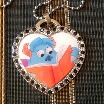 Disney Pixar's Monster's Inc. Sully Silver With Black Rhinestones Heart Shaped Dog Tag Necklace