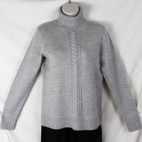 Worth Sweater S size Light Gray Wool Turtleneck Womens Soft Raised Cable Accent