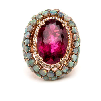 Rubellite and Opal Ring