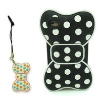 DD 3D Lovely Cute Black Butterfly Bowknot Bow White Dots Soft Silicone Case Cover Protective Skin with Bowknot Bow Anti-dust plug for Apple iPod Touch 4 4th Generation