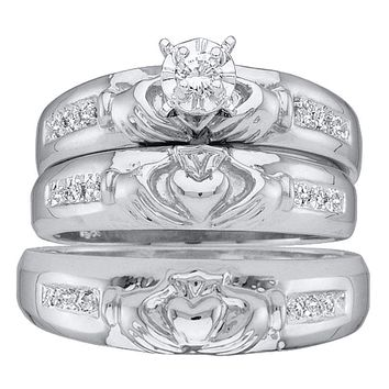 14kt White Gold His & Hers Round Diamond Claddagh Matching Bridal Wedding Ring Band Set 1/8 Cttw - FREE Shipping (US/CAN)