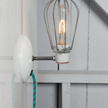 Industrial Wall Light - Wire Cage Lamp - Plug In