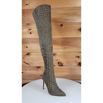So Me May Olive Green Pointy Toe High Heel OTK Above Knee Boots Gold Stud Stripe