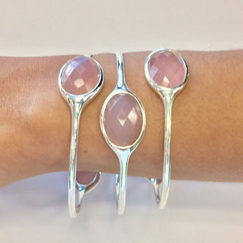 Pink Chalcedony Gemstone Bangle