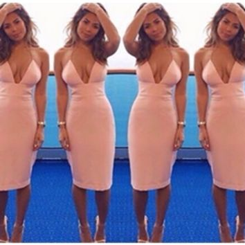 Light Pink Plunge V Neck Spaghetti Strap Cross Back Bodycon Midi Dress