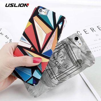 USLION Abstract Marble Stone Image Phone Case For iPhone 6 6s Plus Flower Leaf Painted Back Cover Hard PC Cases For iPhone 6S