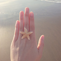 The Mermaid's Starfish Ring II - Natural Sugar Starfish - Beach Bridal Jewelry - Cute Adorable Beach Boho Romantic Whimsical Dreamy Mermaid