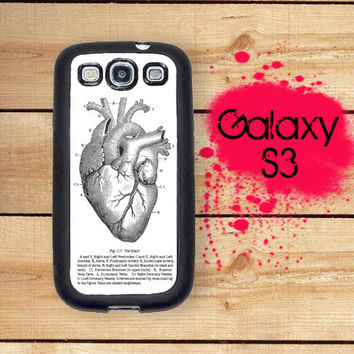 Galaxy S3 Phone Case Vintage Medical Diagram Anatomical Heart / Hard Case For S3 Rubber Trim For Galaxy S3 I9300