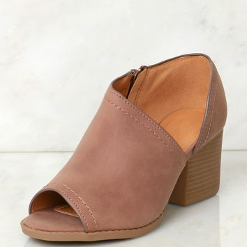 Cut Out Peep Toe Bootie Nutmeg