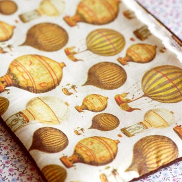 Vintage hot air balloons purse.Balloons pencil case.Vintage make up bag.Steampunk Gadget Pouch.Victorian wallet.Retro Pencil Case.