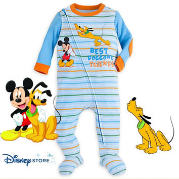 Disney Store Mickey Mouse and Pluto Stretchie Organic Sleeper - Baby Boy 9-12M
