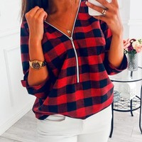 New Red Plaid Deep V-neck Zipper Casual Fashion Blouse