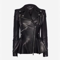 ‎‎‎‎Women‎'s ‎Black ‎ ‎Leather Peplum Jacket ‎ | Alexander McQueen