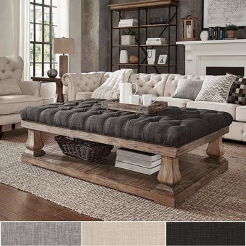 Knightsbridge Tufted Linen Baluster 60-inch Cocktail Ottoman by iNSPIRE Q Artisan
