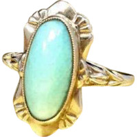Late 1900s Antique Edwardian Engagement Ring or Promise Ring Featuring Light Mint Green Nephrite Jade and Crafted in 10 Karat Rose Gold Currently a Size 5.25