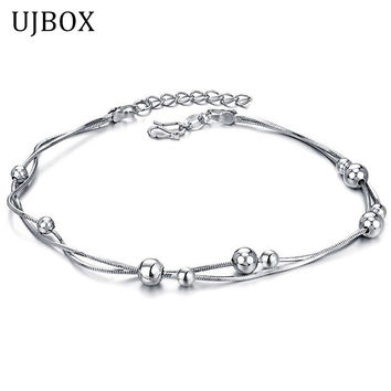 UJBOX Anklets Bracelets For Women Girls White Gold Plated Snake Chain With Beads Foot Bracelets Foot Jewlery Bijoux Pieds A006