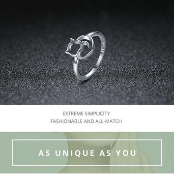 Sterling Silver Little Cat & Heart Finger Ring for Women