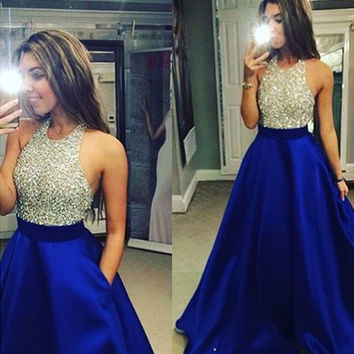 [$189.99] A-Line Halter Sleeveless Empire Backless Prom Floor-Length Satin Royal Blue New Arrival Prom Dresses
