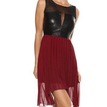 Sweet Escape Leatherette & Accordion Pleated Hi & Lo Dress In Black/Burgundy | Thirteen Vintage