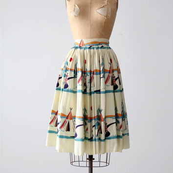 FREE SHIP vintage 50s novelty print circle skirt, western camp print