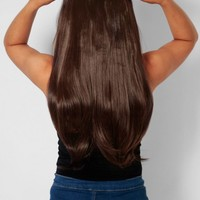 Chocolate Brown Curly Synthetic Instant Full Head Clip In Hair Extensions | Pink Boutique