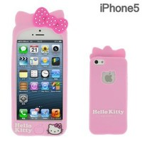 Sanrio Hello Kitty 3D Silicone iPhone 5 Case with Ears (Pink)