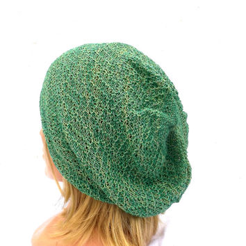 knit hat, knitted cotton beanie, knitting green cap, knit small slouche, summer hat, autumn hat, women beanie, men cap, handmade sun hat