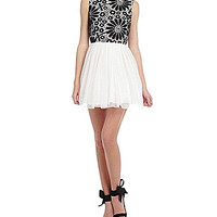 B. Darlin Floral Crochet-Bodice Party Dress - Off White/Black