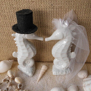 Beautiful Adorable White Tropical Kissing Seahorse Ceramic Wedding Cake Toppers Beach Seashore Coastal Centerpiece Destination Weddings
