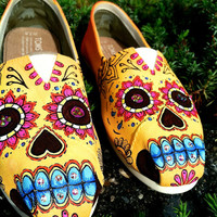 Made to Order Custom Painted TOMS Sugar Skull Shoes