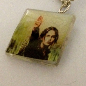 3 Three Finger Salute by Katniss on a pendant charm silver chain necklace showing solidarity in The Hunger Games
