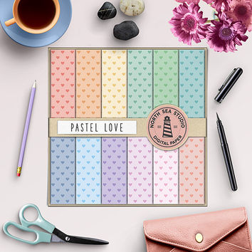 Hearts Digital Paper Hearts Pattern Pastel Backgrounds Pastel Paper Valentine Digital Scrapbook Pink Blue Red Green Love Paper 12 x 12 In