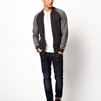 ASOS Bomber In Jersey With Textured Sleeves