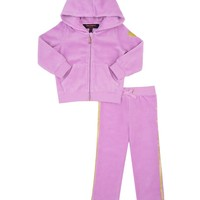 Amethyst Baby Juicy Glitter 2Pc Long Sleeve Velour Tracksuit by Juicy Couture,
