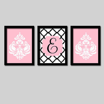 Pink Black Monogram Damask Wall Art Girl Child Canvas Artwork Flower Letter Initial Set of 3 Prints Quatrefoil Decor Bedroom  Three