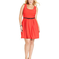 Ruby Rox Plus Size Dress, Sleeveless Cutout Belted - Junior Plus Size - Plus Sizes - Macy's