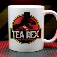 Tea Rex Jurassic Park T-Rex Parody Funny Coffee Mug Tea Cup Double Sided