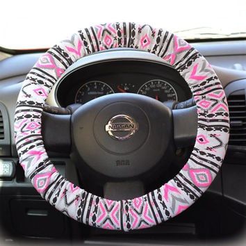 Steering Wheel Cover Bow Wheel Car Accessories Lilly Heated For Girls Interior Aztec Monogram Tribal Camo Cheetah Sterling Chevron Neon Pink