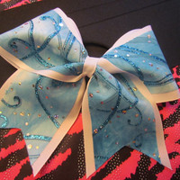 Blue Swirl Cheer Bow on 3 Ribbon by BowsItUp on Etsy